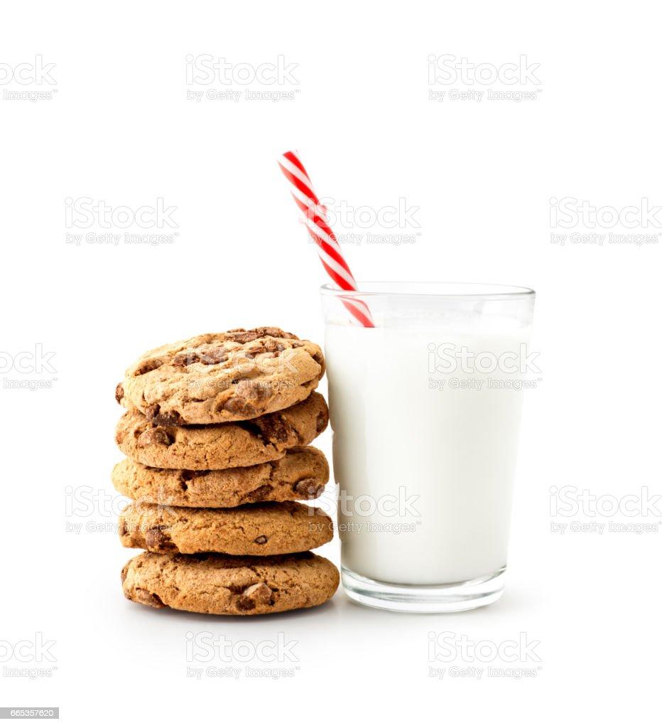 Milk , glass , cookie , isolated stock photo