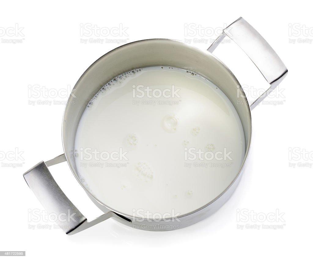 Milk in metal pot stock photo