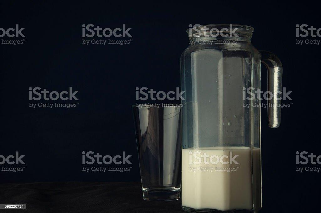 Milk on a dark background foto royalty-free