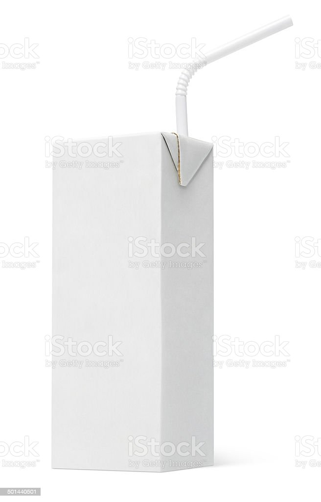 Milk or juice carton packag with straw stock photo