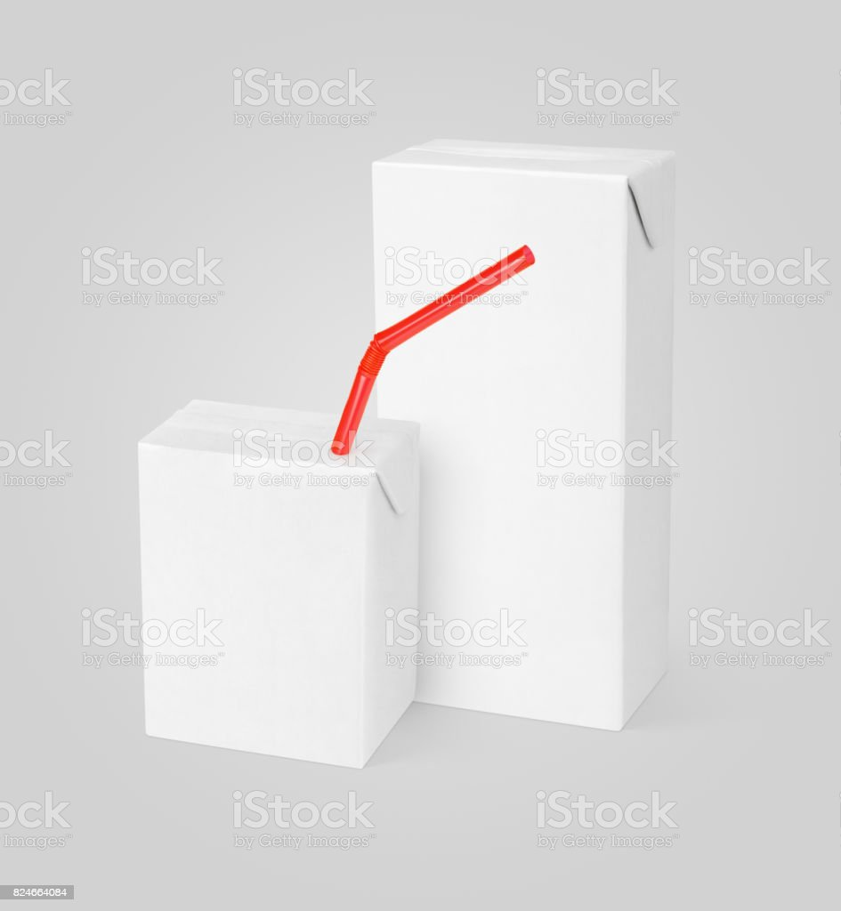 Embalagem cartonada de leite ou suco de pacotes - foto de acervo