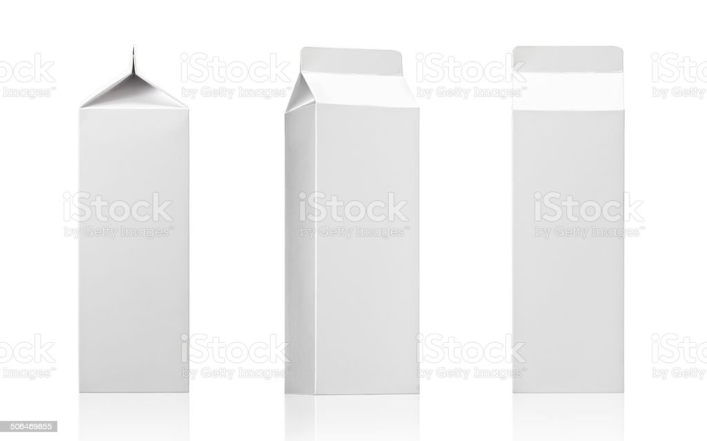 Milk or juice Carton paper box pack. Realistic photo image stock photo