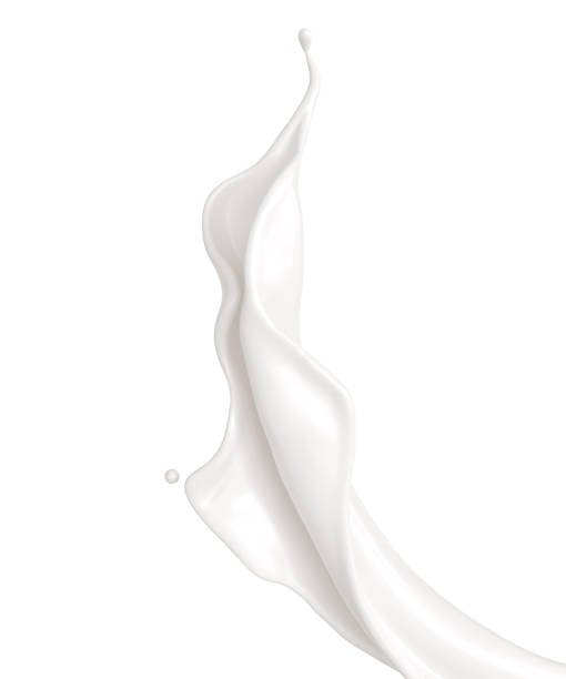 白い背景の上の牛乳やヨーグルト スプラッシュ。 - クリーム ストックフォトと画像