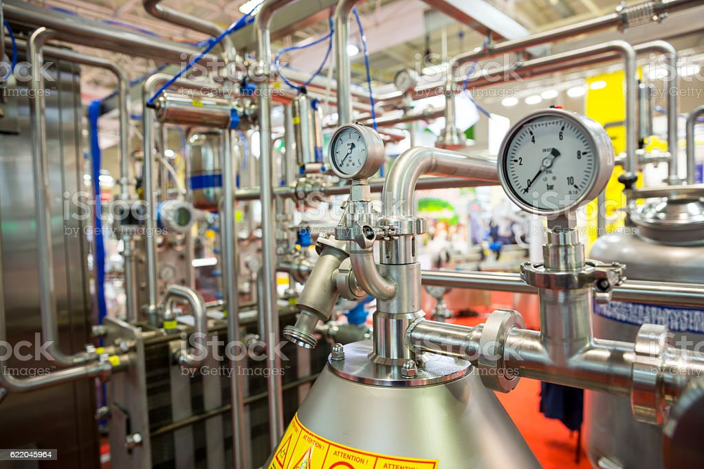 Milk pasteurization system stock photo