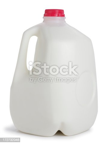 A one gallon container of milk.