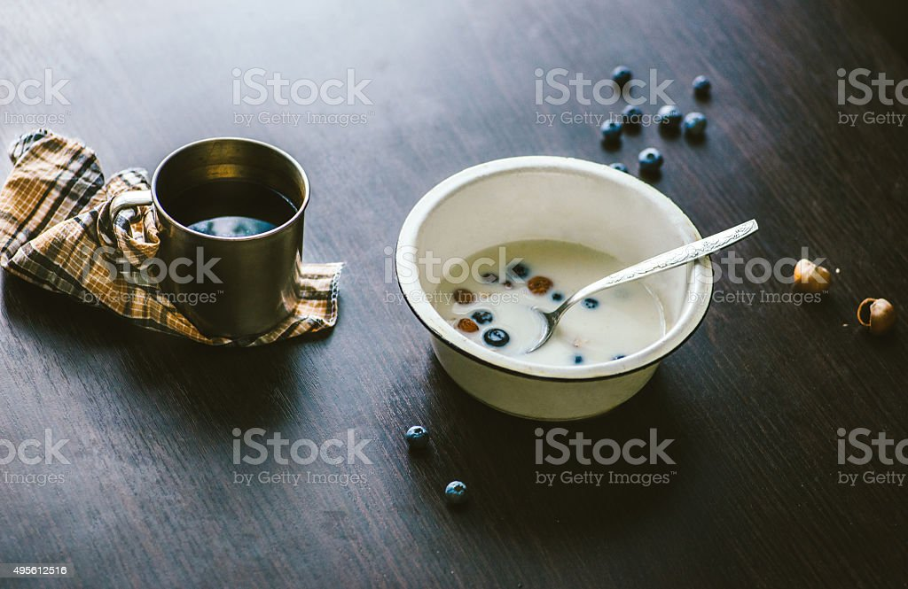 milk porridge stock photo