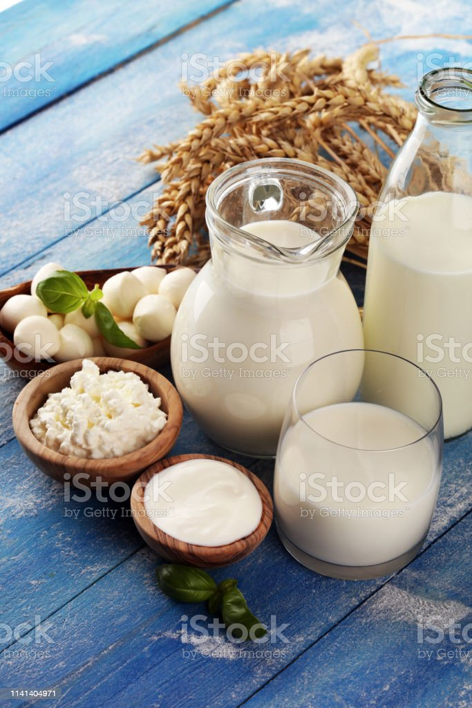 milk products - tasty healthy dairy products on a table on: sour...