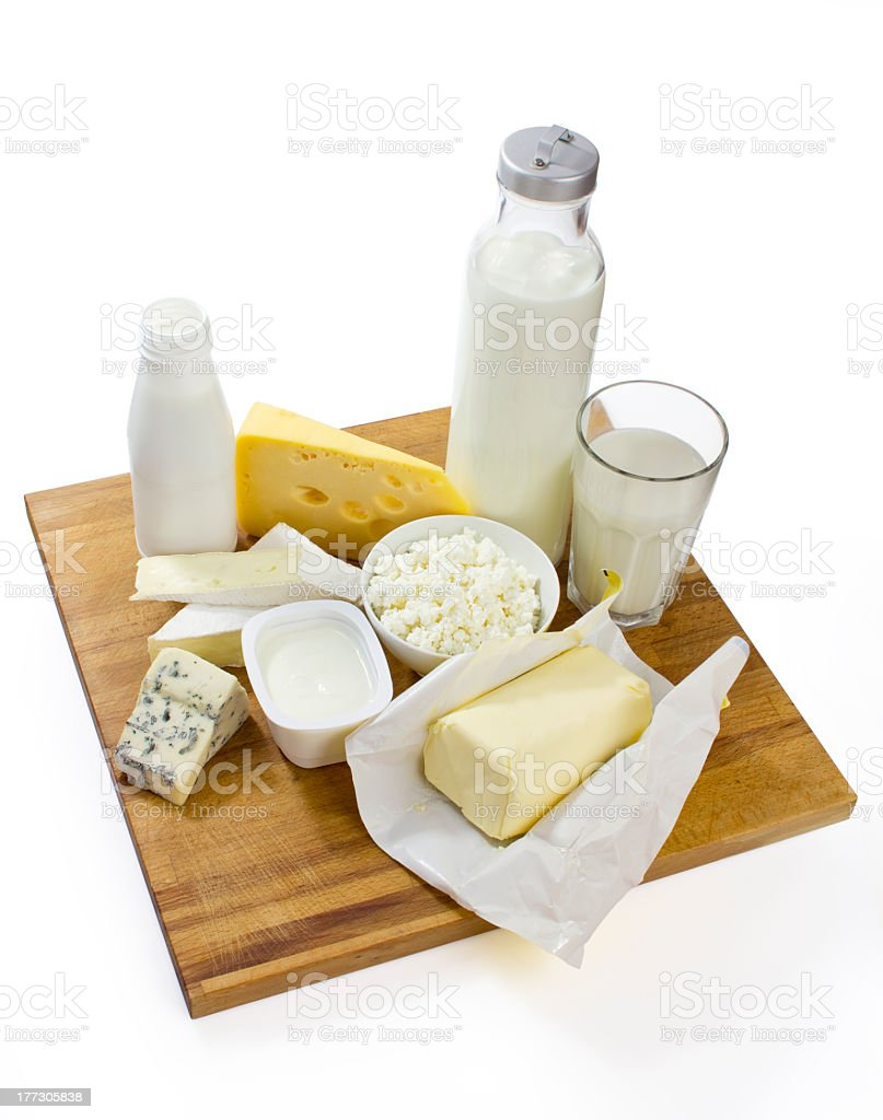 milk products with clipping path royalty-free stock photo
