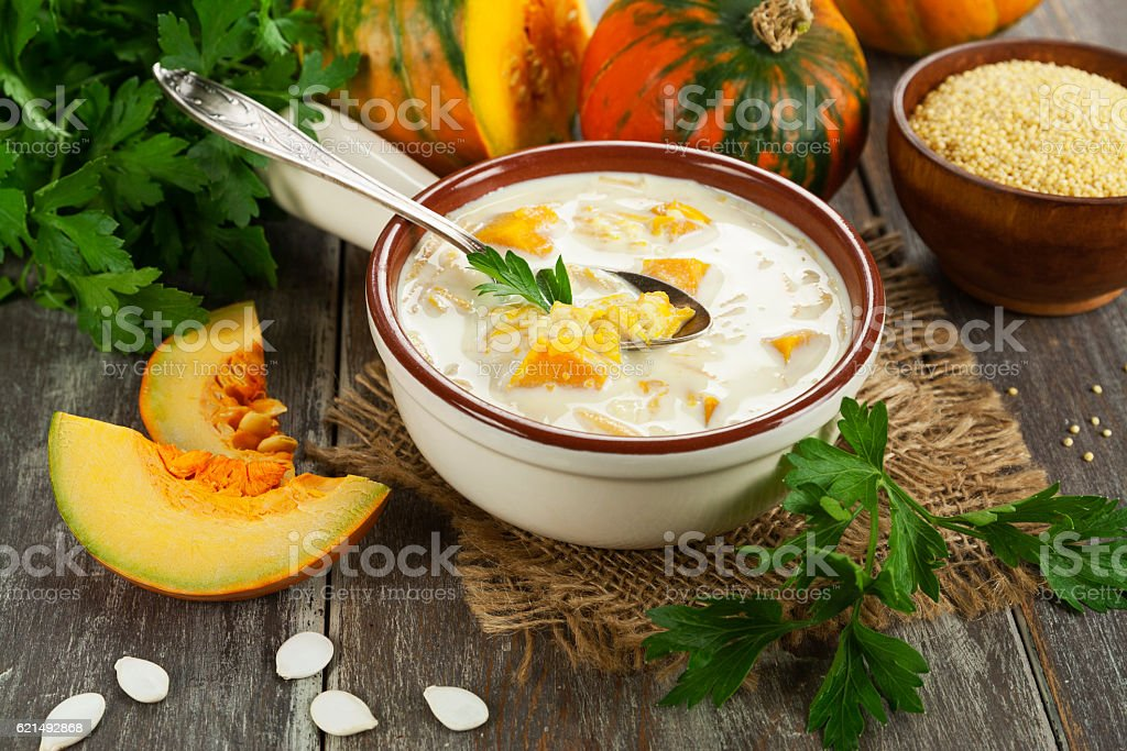 Milk soup with pumpkin and millet foto stock royalty-free
