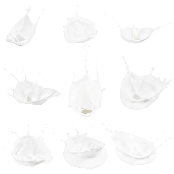 milk splashes collection stock photo
