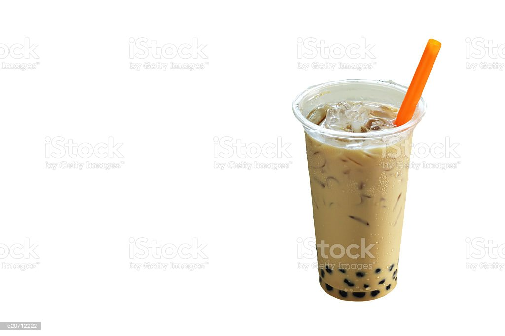 milk tea isolated on white background stock photo
