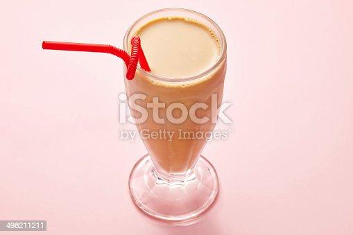 milk tea sweet drink on pink background