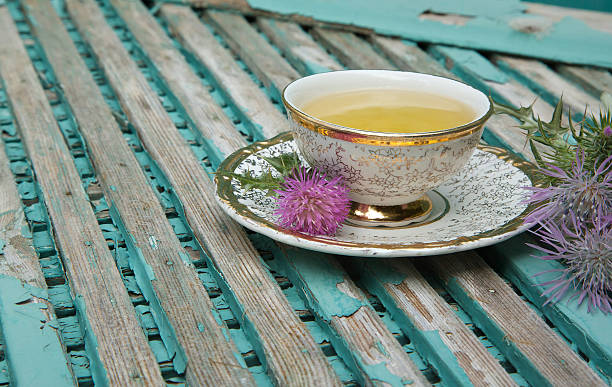 Milk thistle tea stock photo