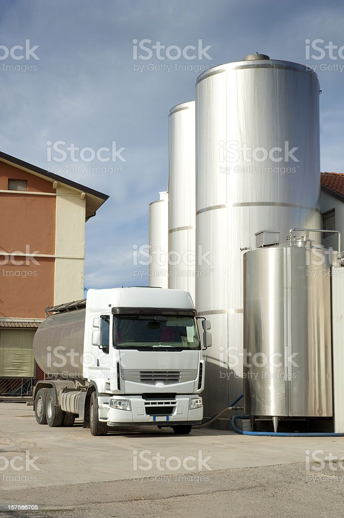 Milk Truck in Dairy Farm stock photo
