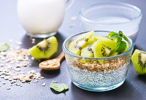 milk with chia seeds stock photo