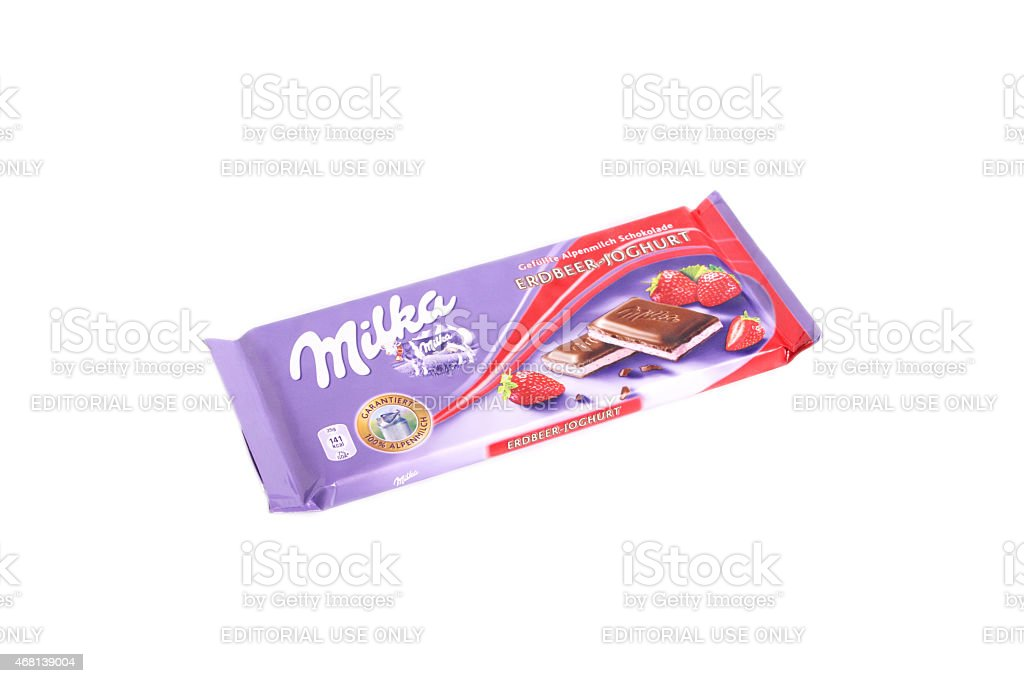 Milka chocolate with strawberry stock photo