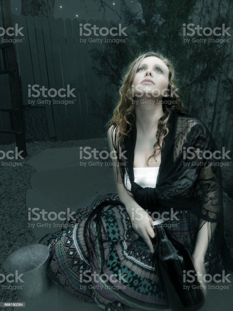 Milkmaid by Night stock photo
