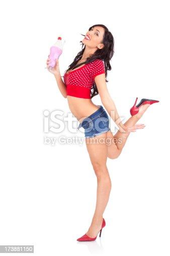 Sexy model holding a milkshake.
