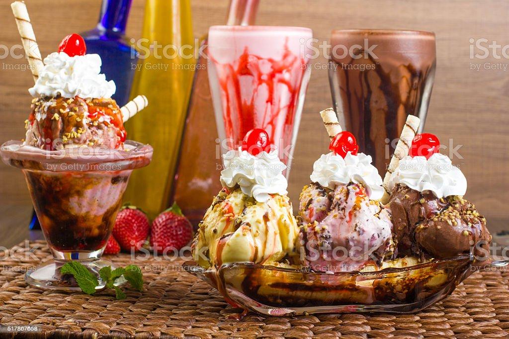 Milkshake, sundae and banana split stock photo