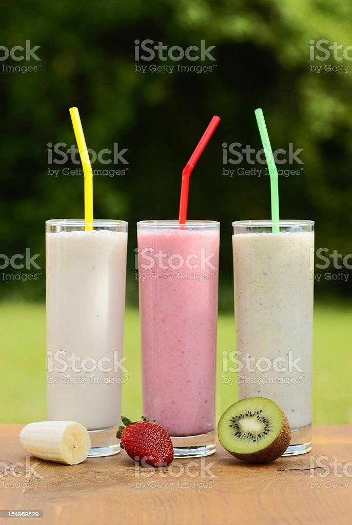 Milkshakes and fruits royalty-free stock photo