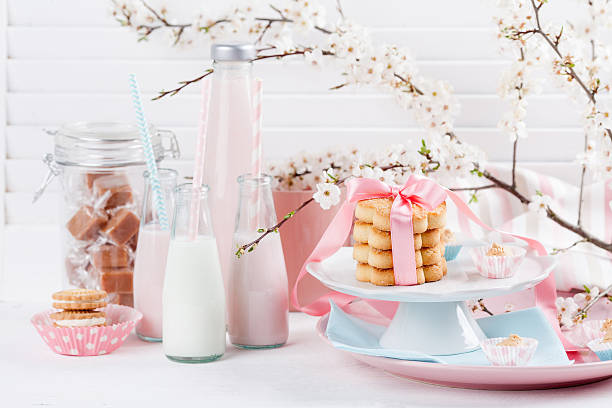 Milkshakes and sweets in pink and blue stock photo