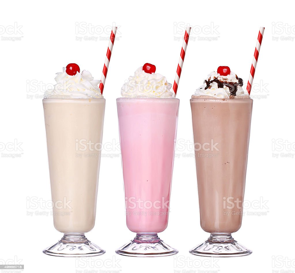 milkshakes chocolate flavor set collection with cherry on top isolated stock photo