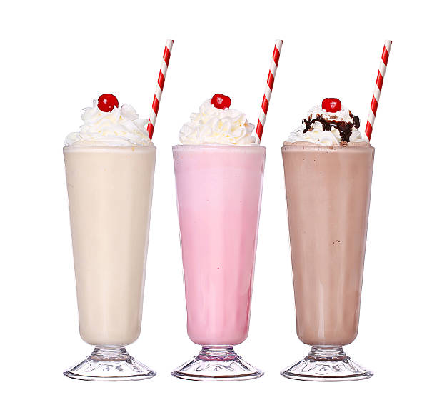 milkshakes chocolate flavor set collection with cherry on top isolated - milkshake stockfoto's en -beelden