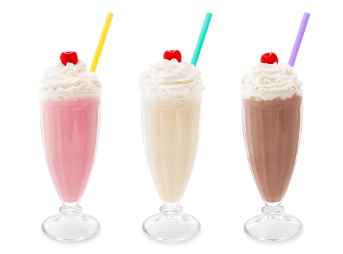 Strawberry, vanilla and chocolate milkshakes isolated on white (excluding the shadow)