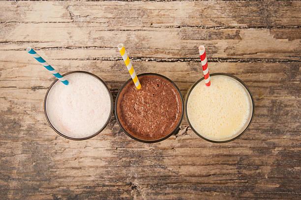 Milk-shakes sur Tableau en bois - Photo