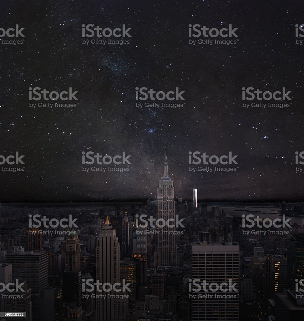 Milkway over New York City and the Empire State Building stock photo