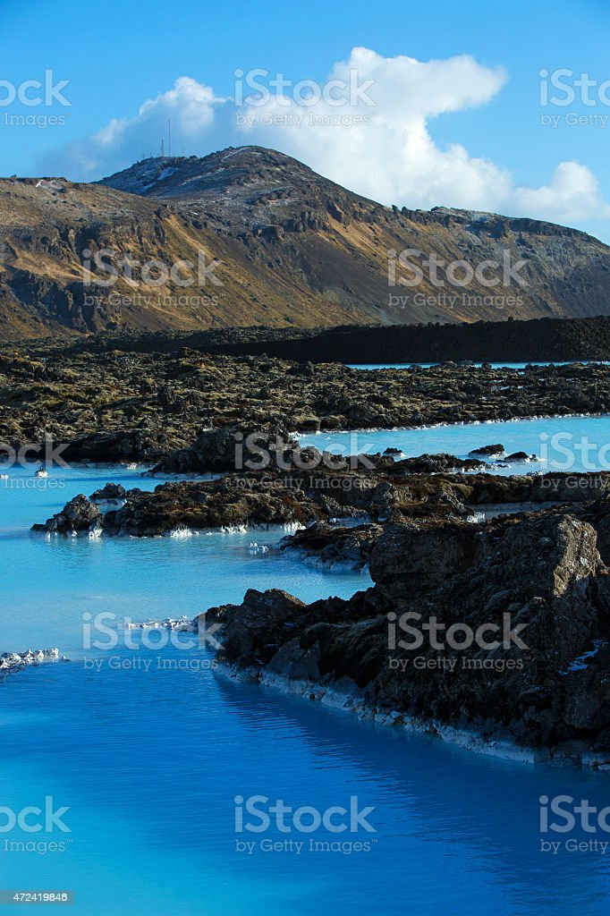 Milky and blue water of the geothermal bath Blue Lagoon stock photo