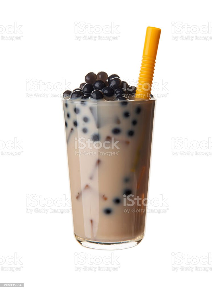 Milky bubble tea with black tapioca pearls stock photo