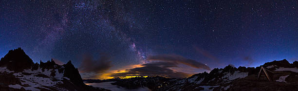 Milky way 360 Extraordinary 360 degree panorama of the night sky in the Swiss alps at 2700 metres. Visible is a glow from a city and the majestic milky way above it 360 degree view stock pictures, royalty-free photos & images