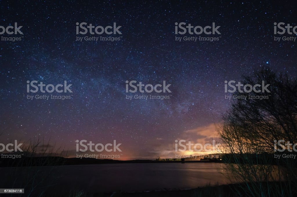 Milky Way above Fontburn Reservoir stock photo