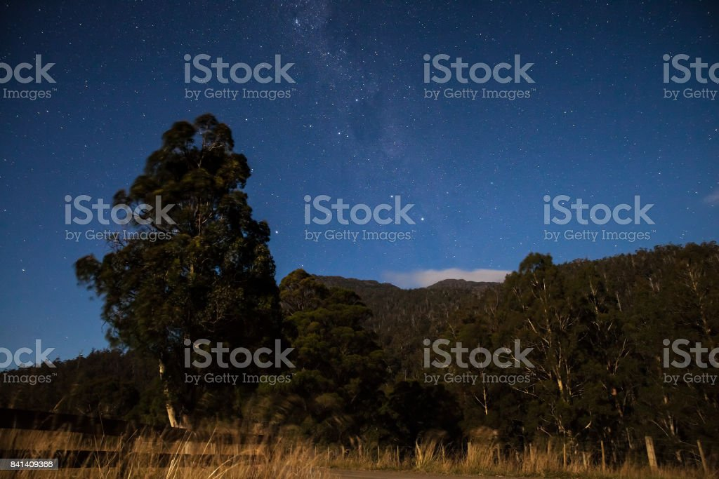 Milky way above the mountain. stock photo