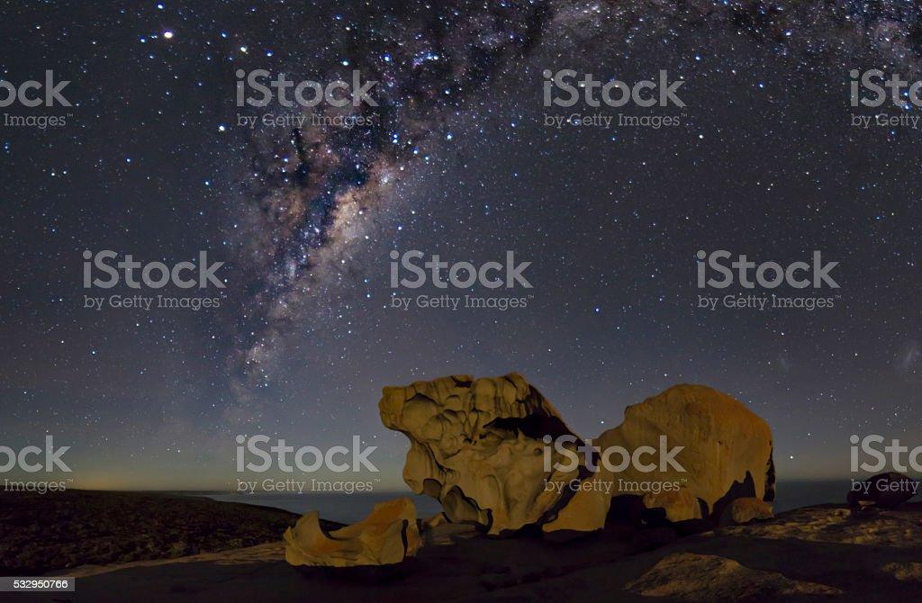 Milky Way above the rocks stock photo