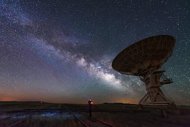 via láctea e grande antena prato, telescópio - exploração espacial - fotografias e filmes do acervo