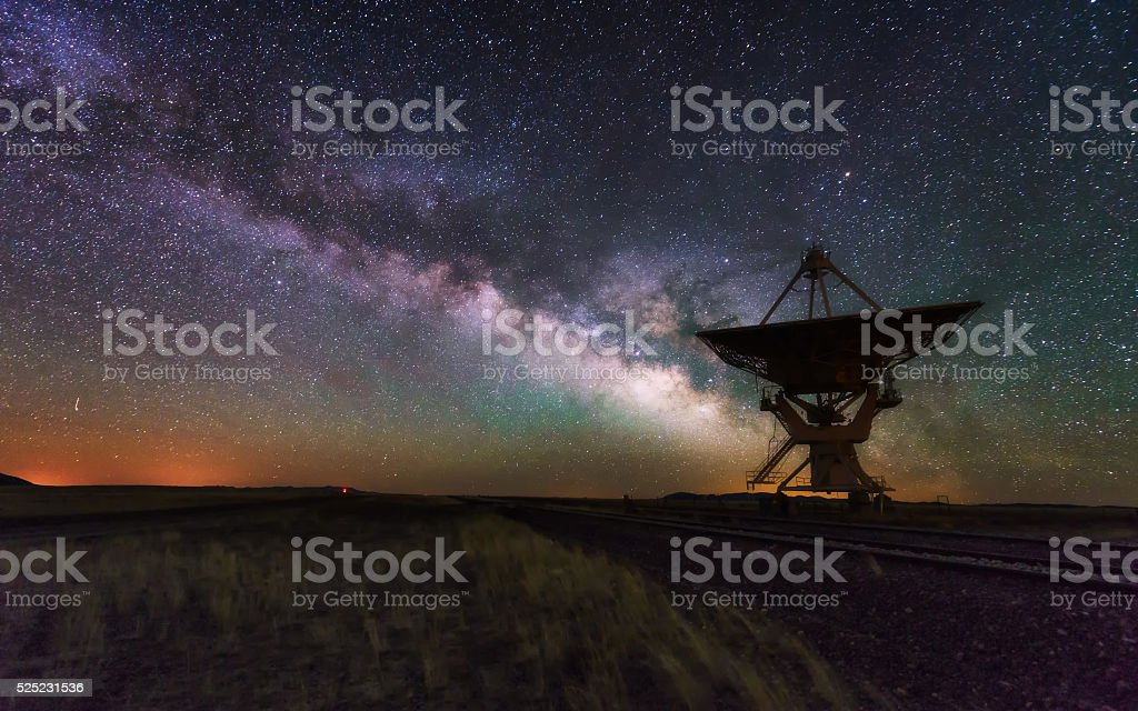 Milky way and big antenna dish, telescope stock photo