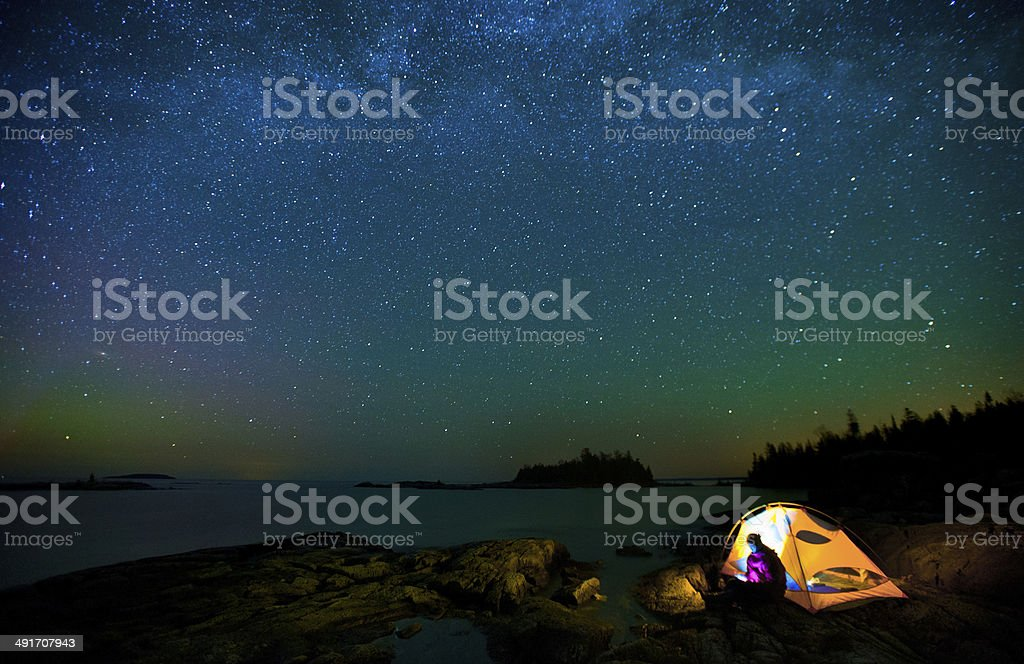 Milky Way and bruce peninsula stock photo