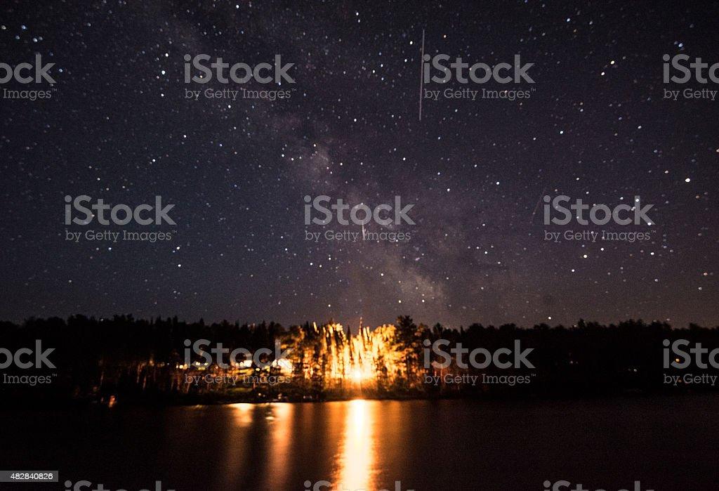 Milky Way and Campfire stock photo