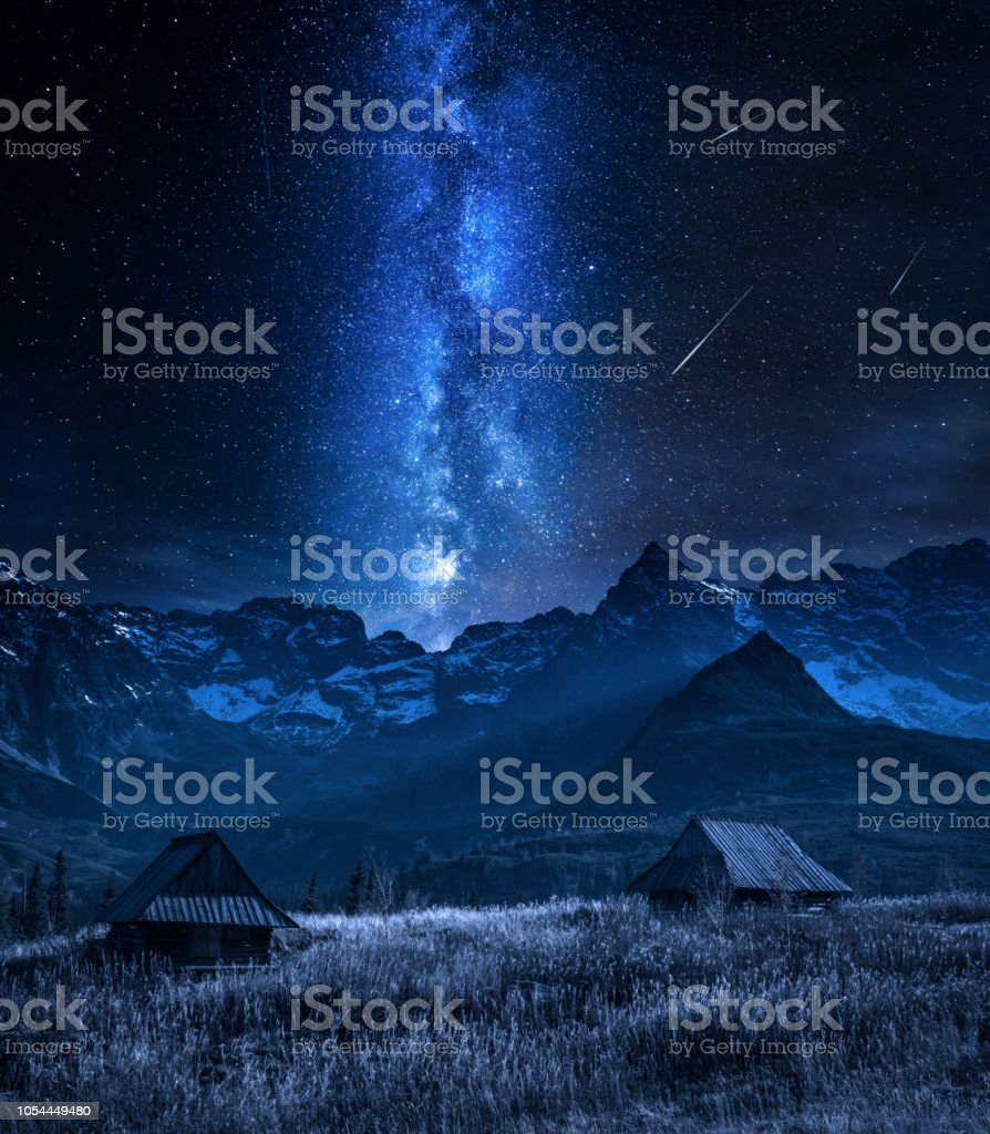 Milky way and falling stars in Tatra mountain at night