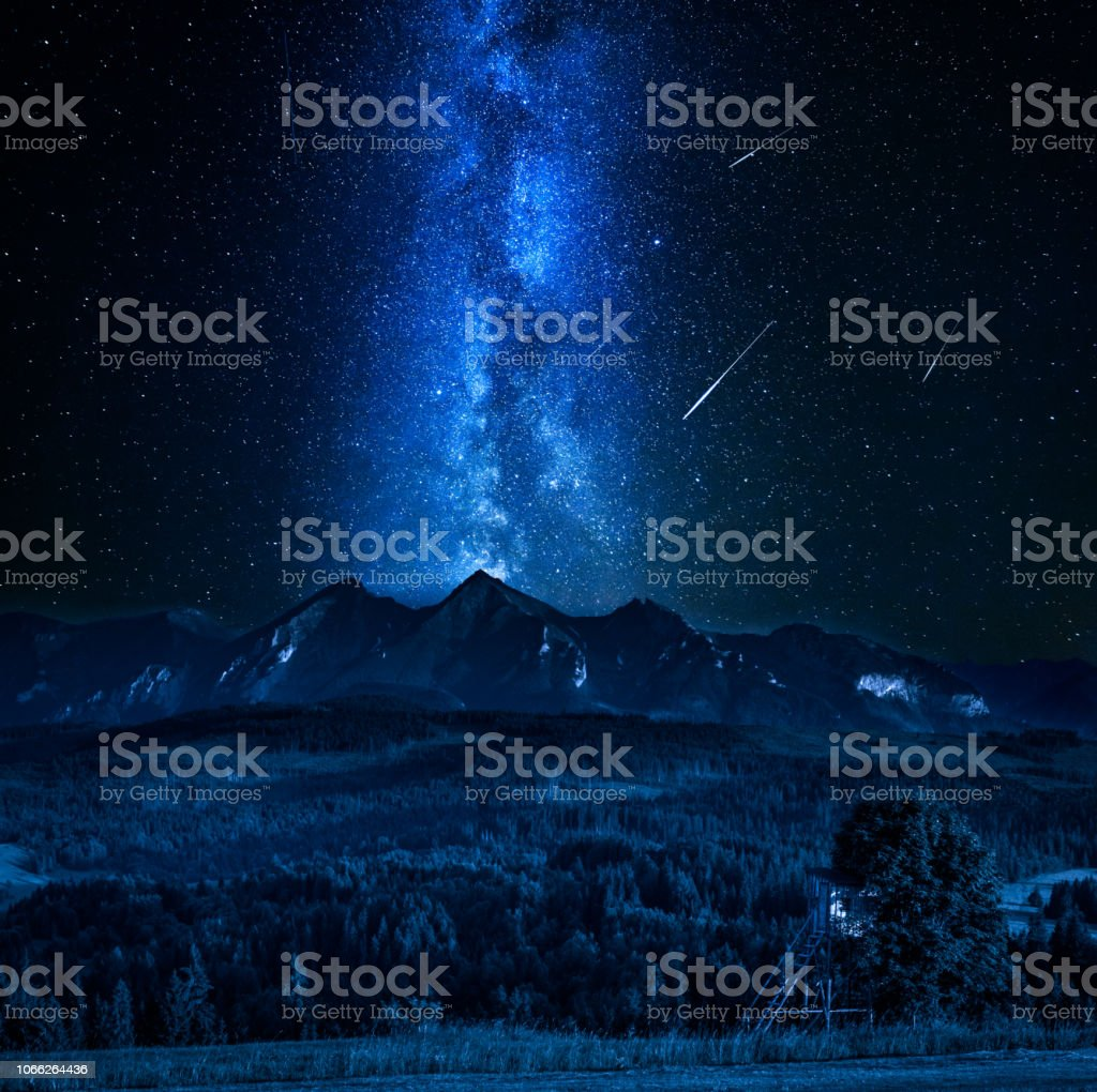 Milky way and falling stars over Tatra mountains in Poland