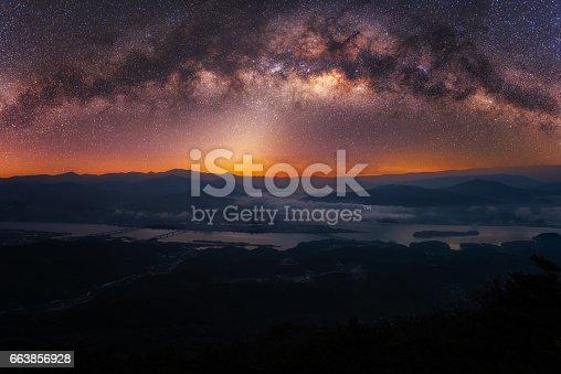 962814924 istock photo Milky way and fog of mountain in Korea. 663856928