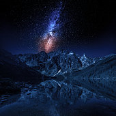 Milky way and lake in the Tatra Mountains, Poland