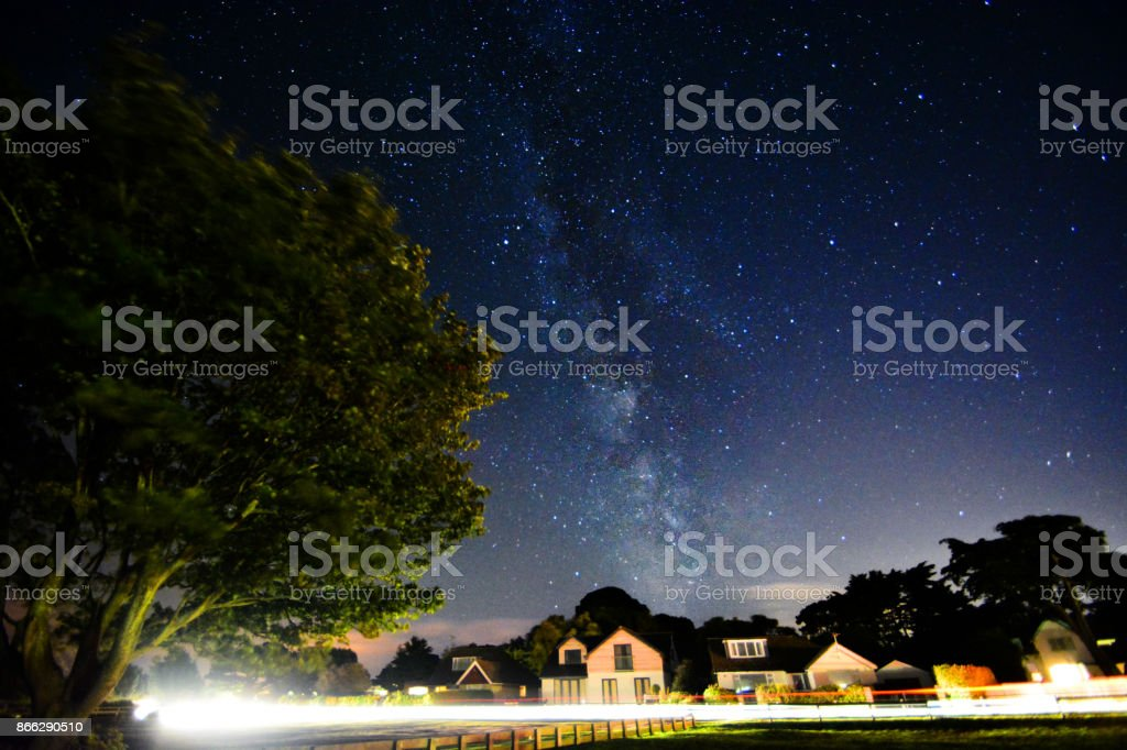 Milky Way and Light Trails stock photo