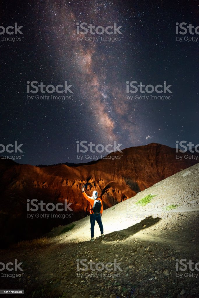 milky way and me stock photo