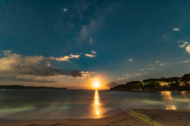 Milky Way and Moon from the Beach stock photo