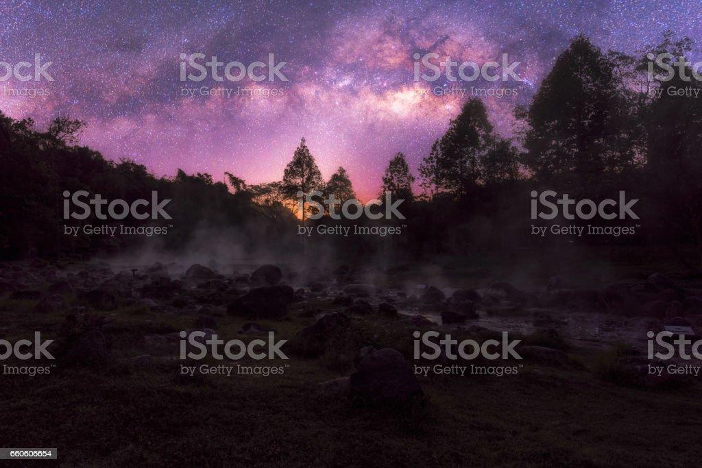 Milky way and National Park Chae Son at lampang ,Thailand royalty-free stock photo