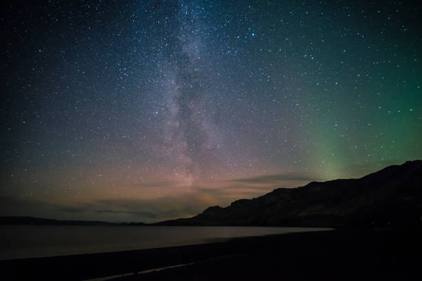 Milky way and Northern light stock photo
