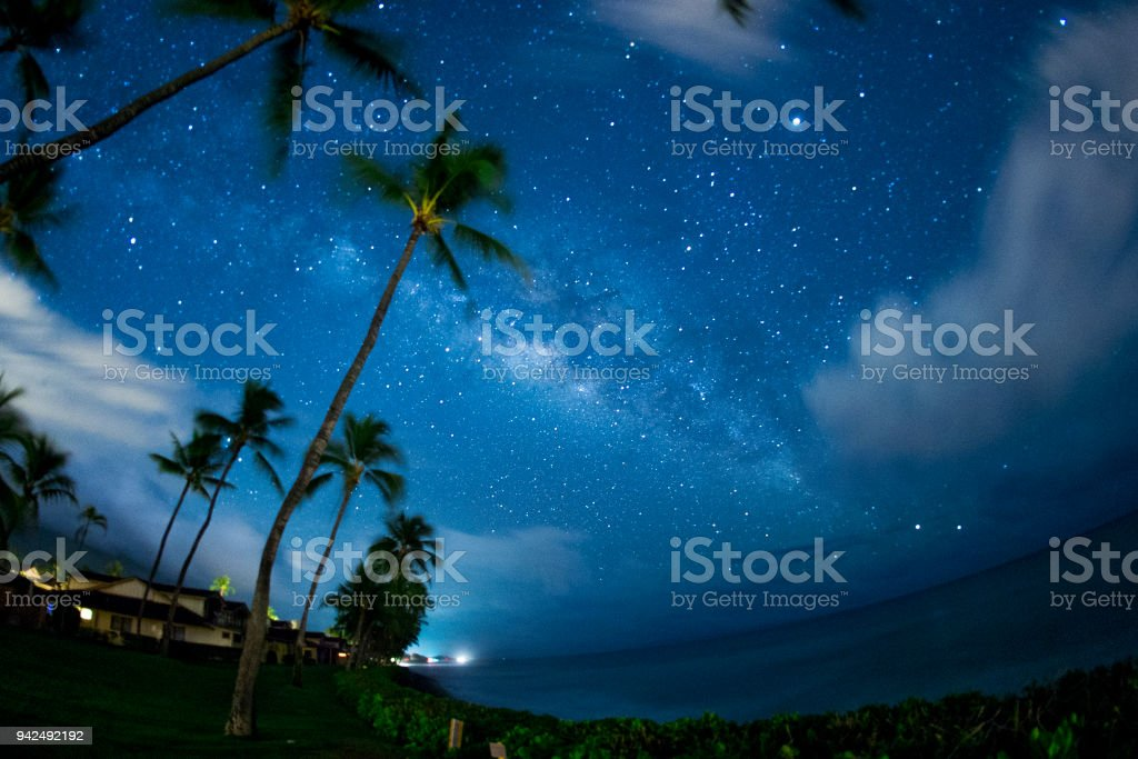Milky Way and planet Jupiter over the Pacific Ocean stock photo